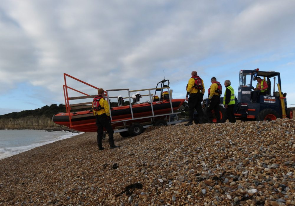 Rescue boat launch, incoming tide
