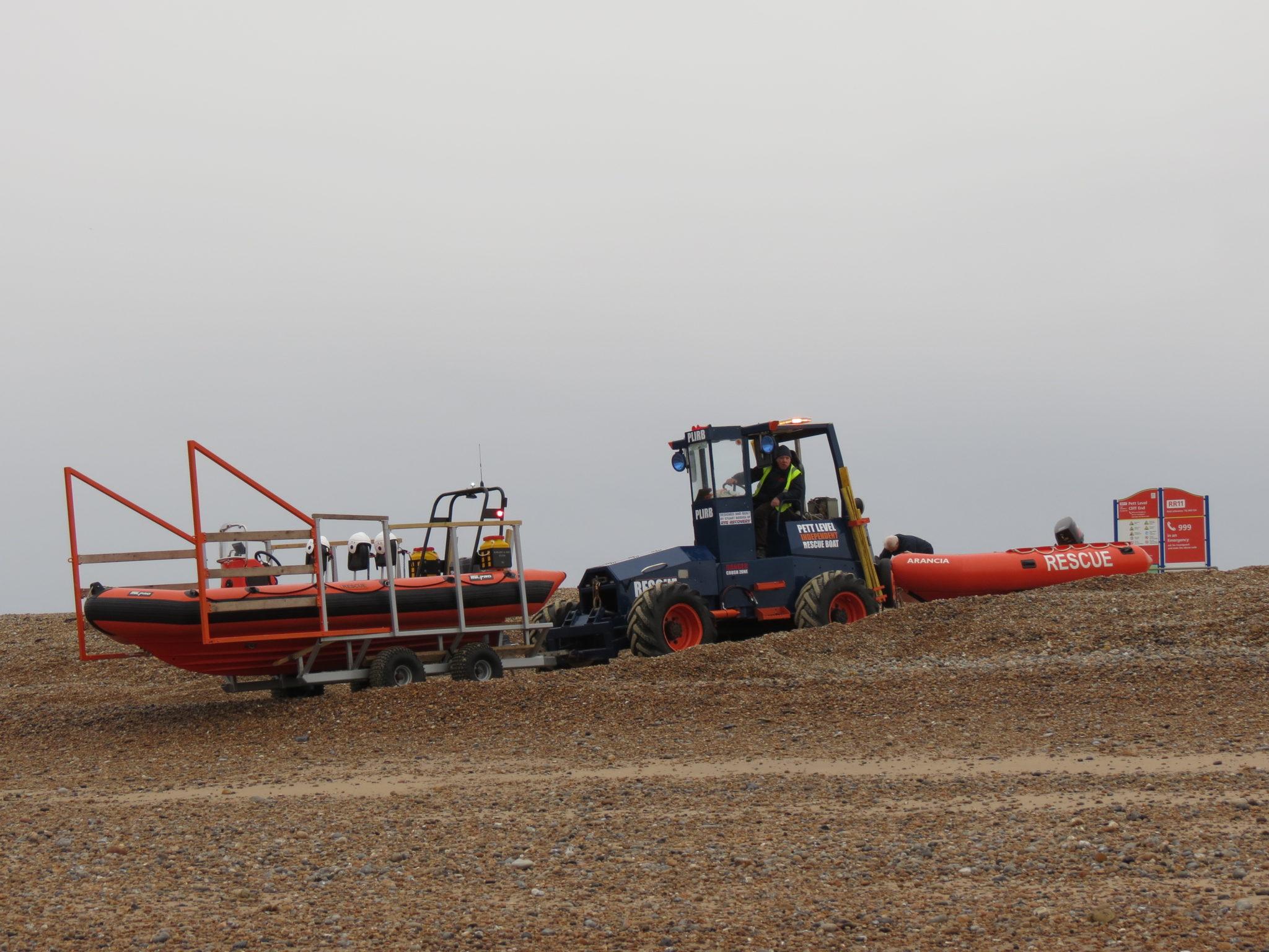 low tide double boat launch, training, beach rescue