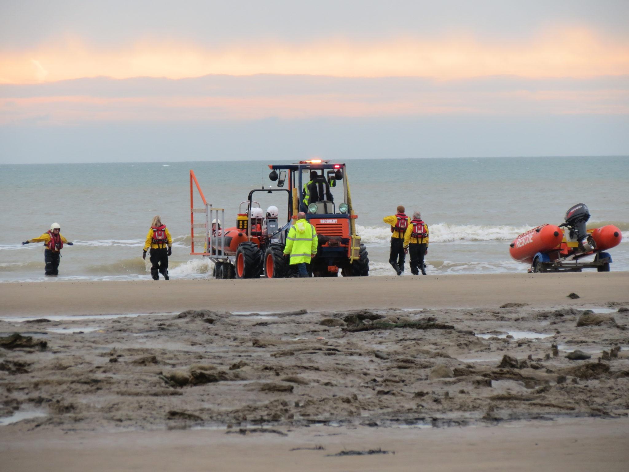 Low tide double boat launch, rescue boat